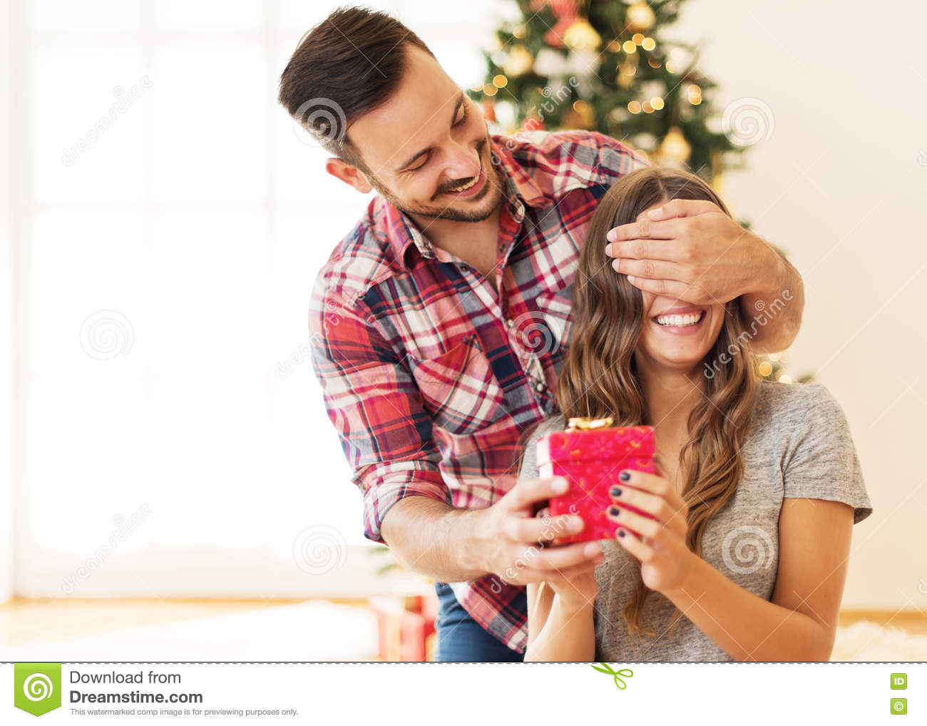 man giving a christmas present to his girlfriend stock image image