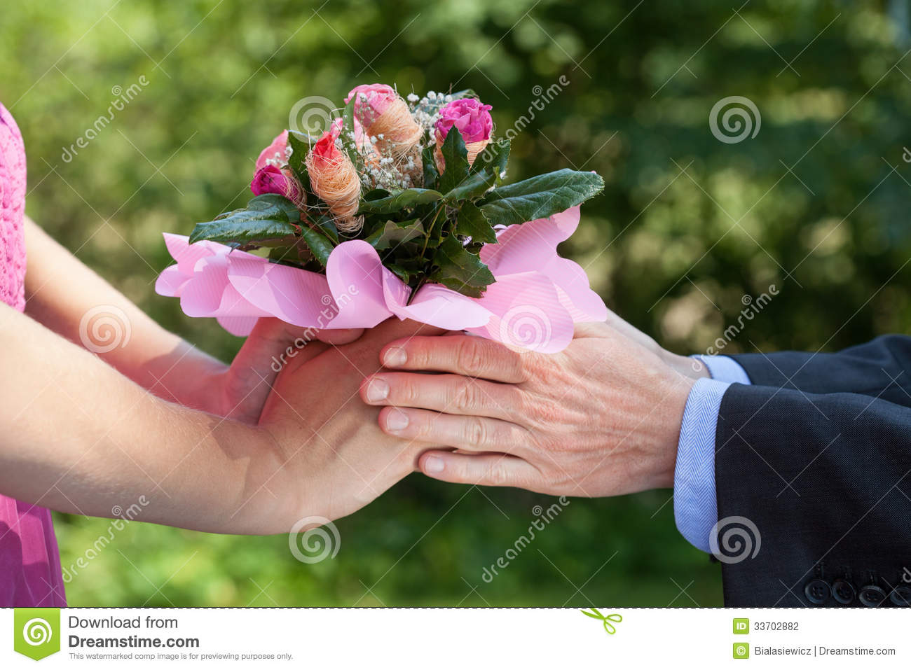 Man giving a flowers