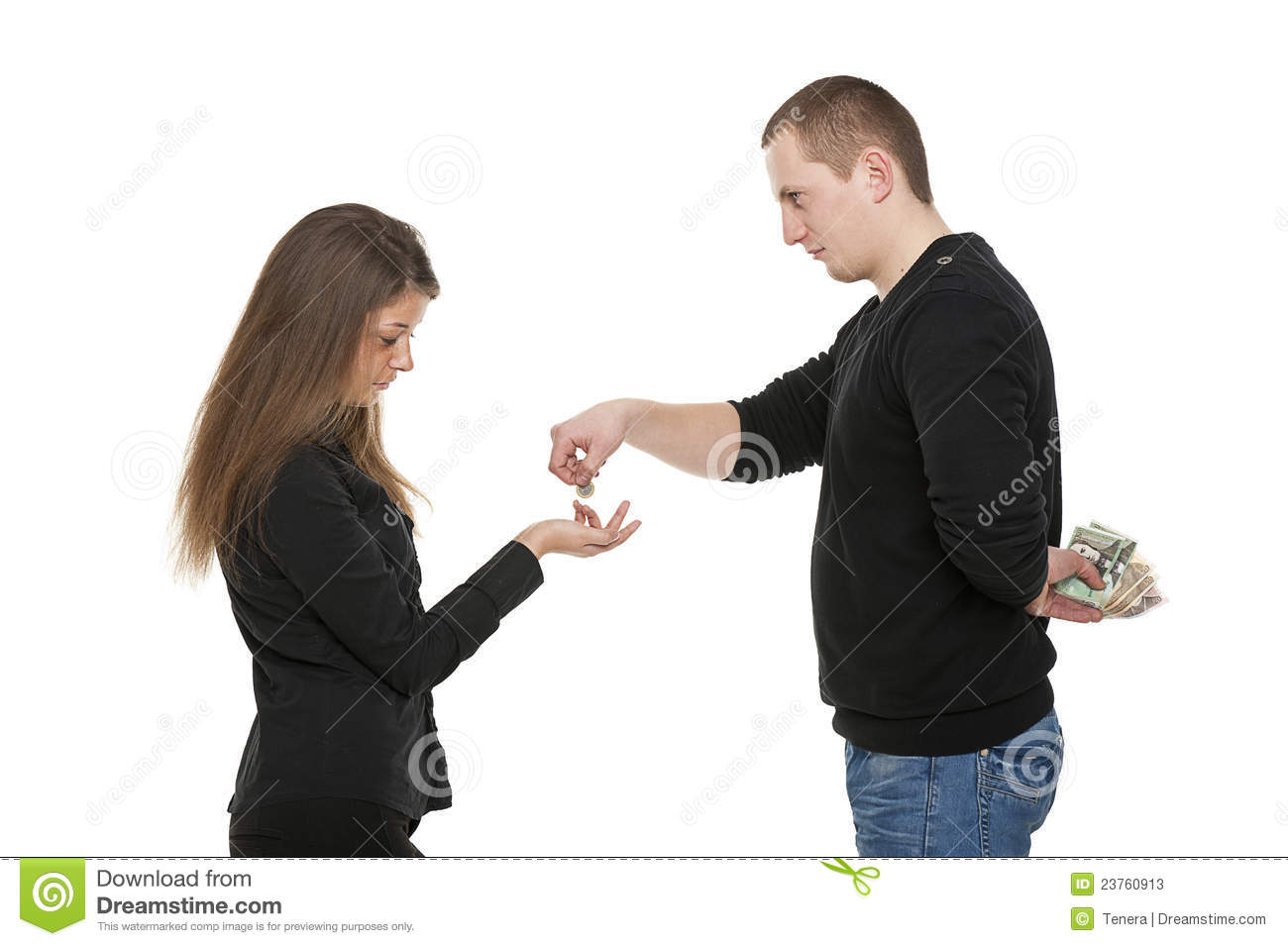 man is giving money to the woman stock photos