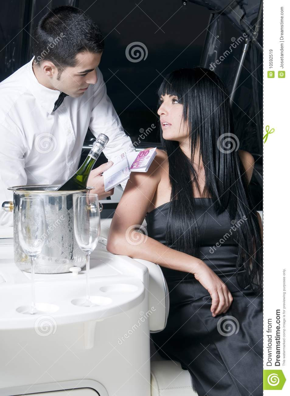 Man Giving Money To A Woman In A Bar Stock Image Image