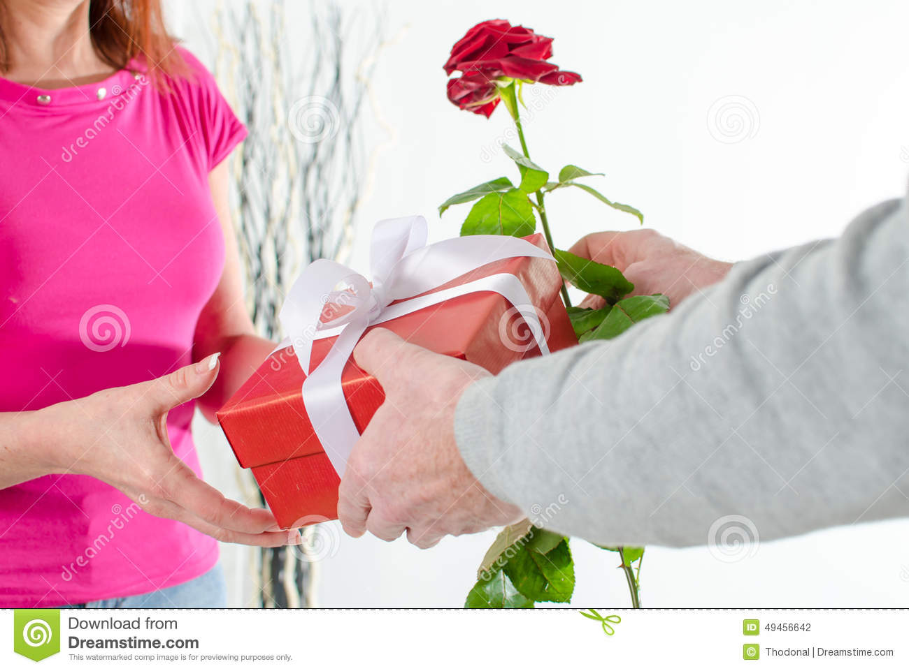 Man giving a rose and a gift to a woman stock photo image 49456848 man giving a rose and a gift to a woman stock photography negle Choice Image