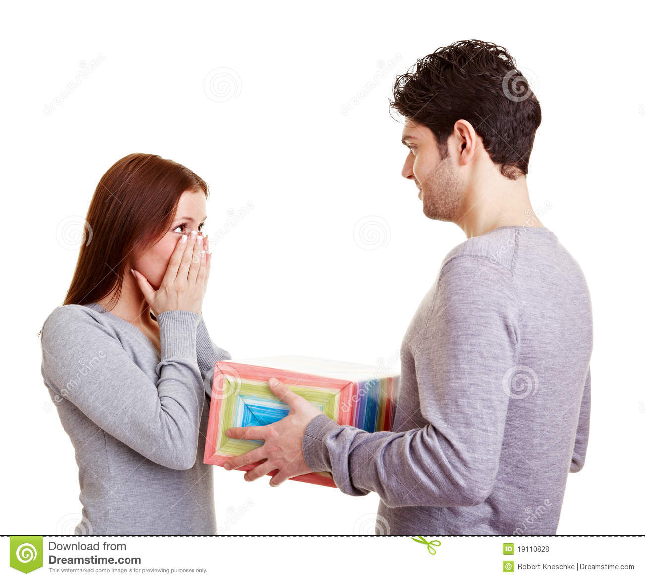 Man Giving Woman A Gift Stock Photo Image Of Love