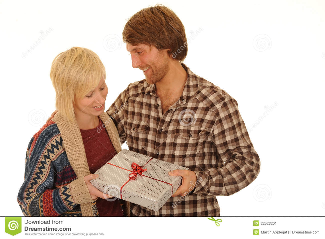 Gifts For Young Men: Man Giving Young Woman Gift Stock Image