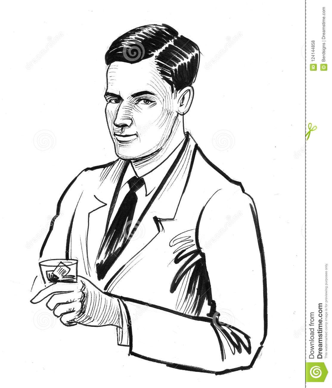 Ink black and white drawing of a man holding a glass of whiskey
