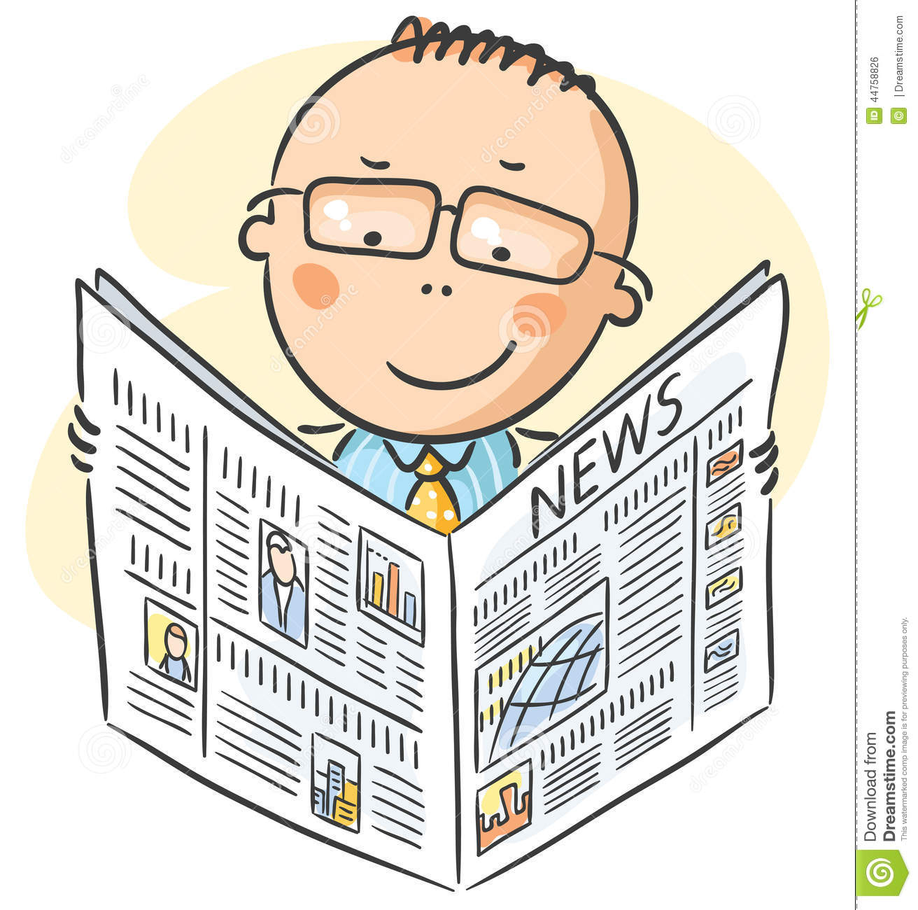 man in glasses reading newspaper illustration 44758826 - megapixl