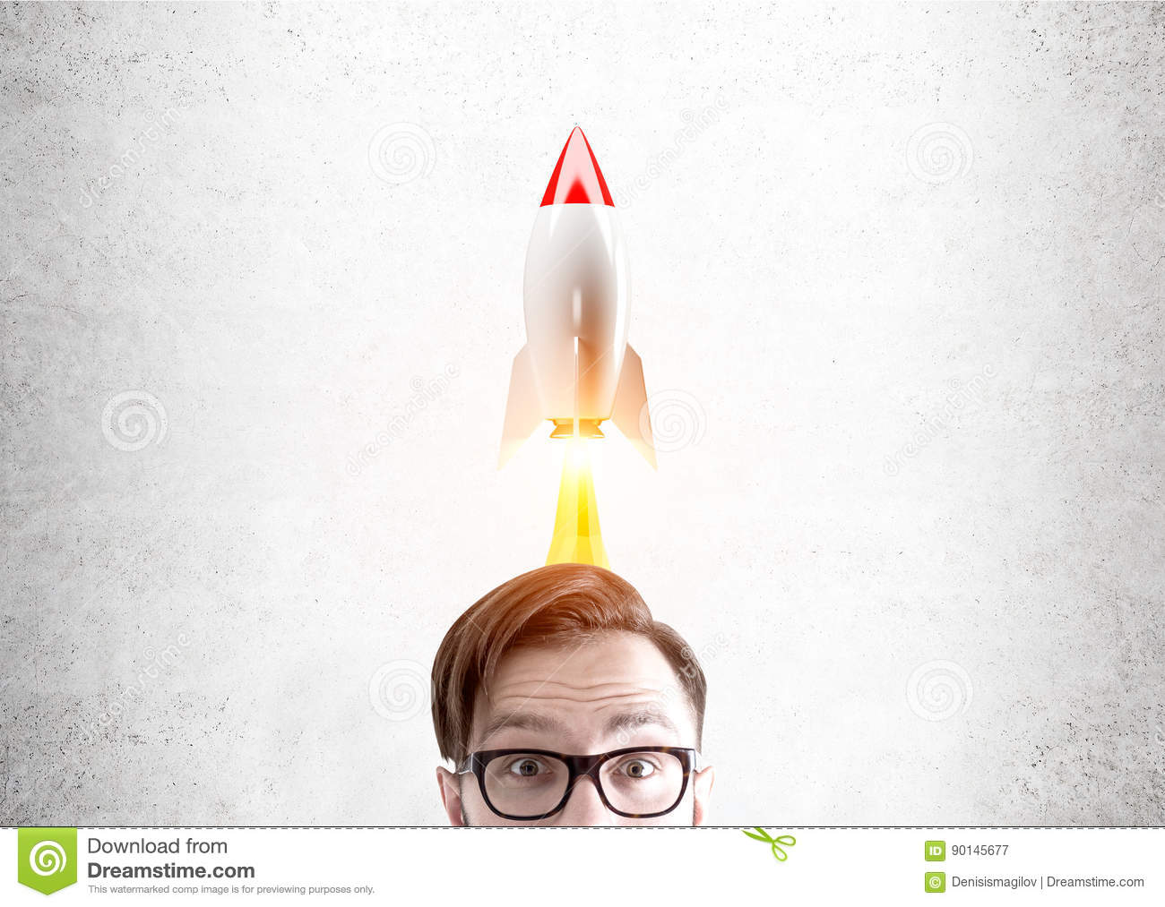 Man in glasses and rocket stock image  Image of development