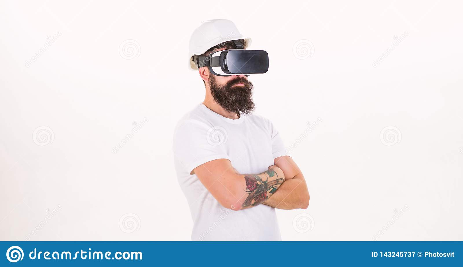 The man with glasses of virtual reality. Cheerful smiling man looking in VR glasses. Young man using a virtual reality