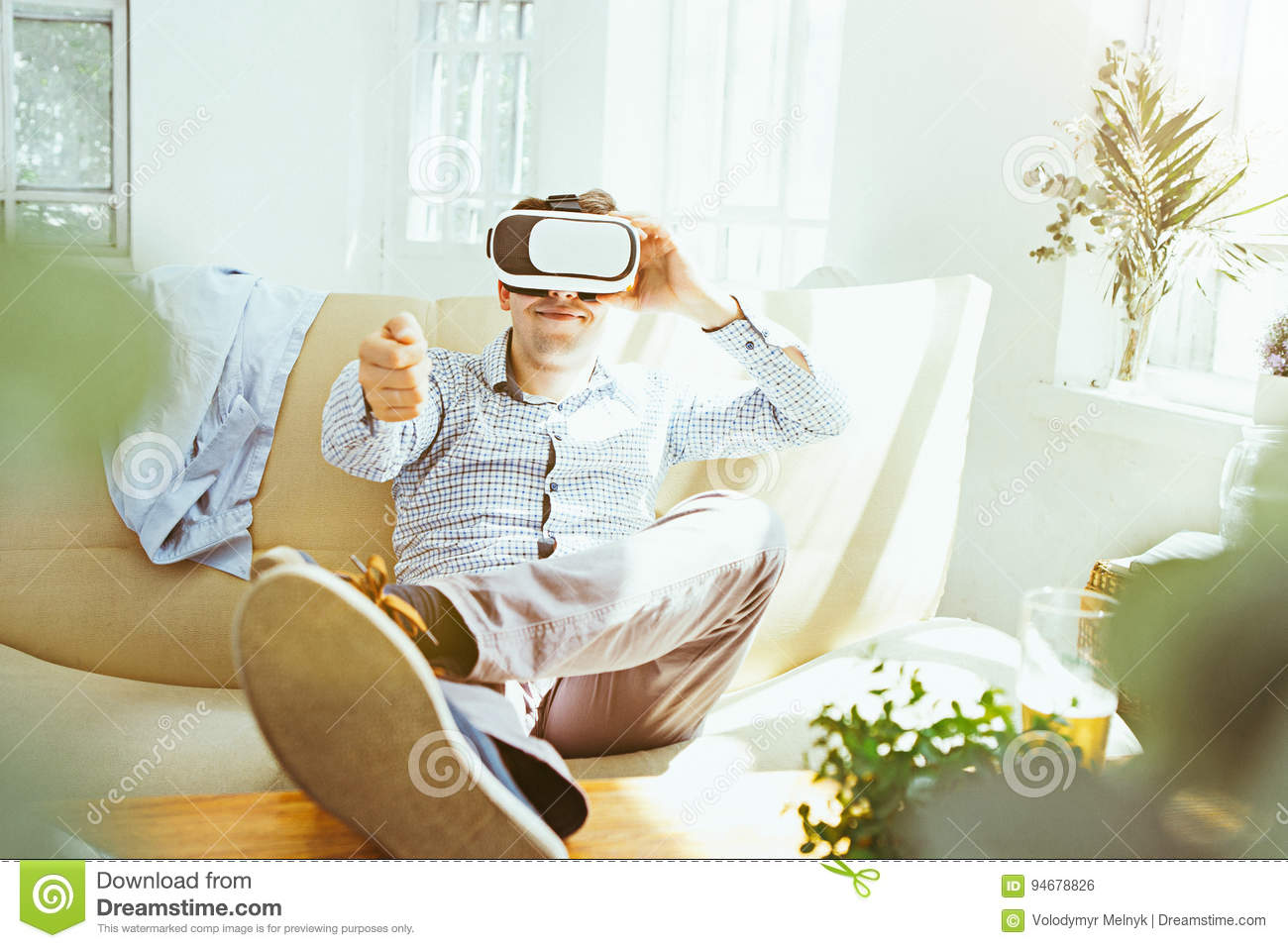 The Man With Glasses Of Virtual Reality. Future Technology Concept ...