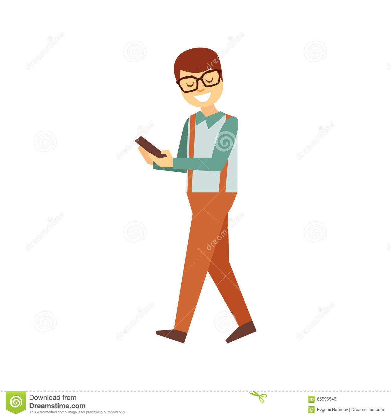 Man In Glasses Walking Looking At Smartphone Screen, Person Being Online All The Time Obsessed With Gadget