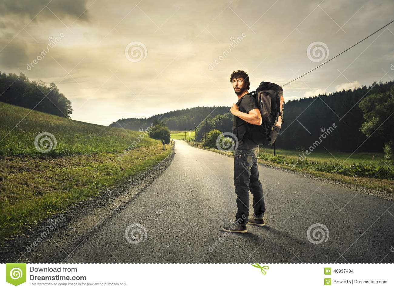 man going away with a rucksack stock photo image of rucksack