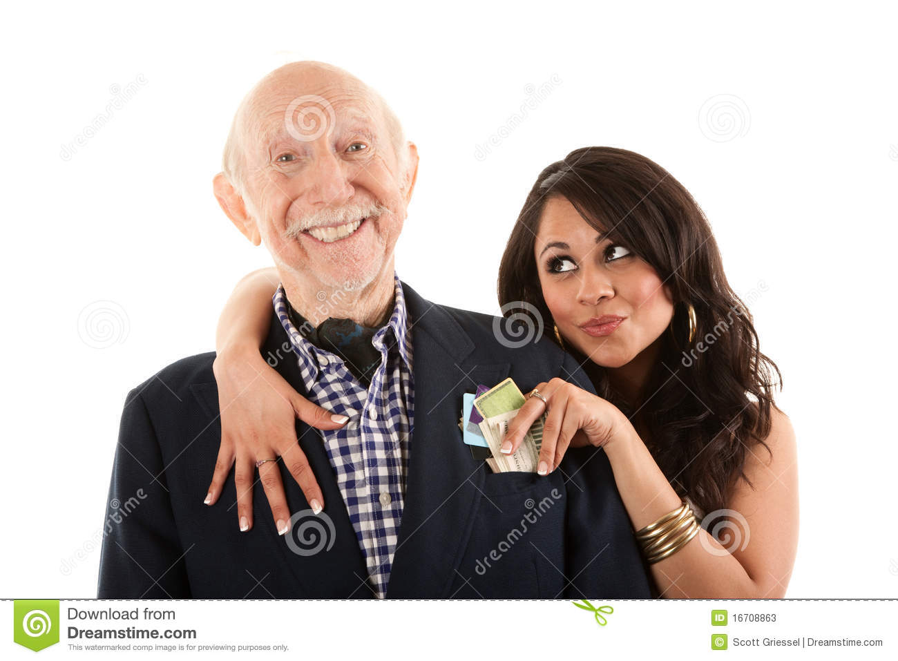 Man with gold-digger companion or wife
