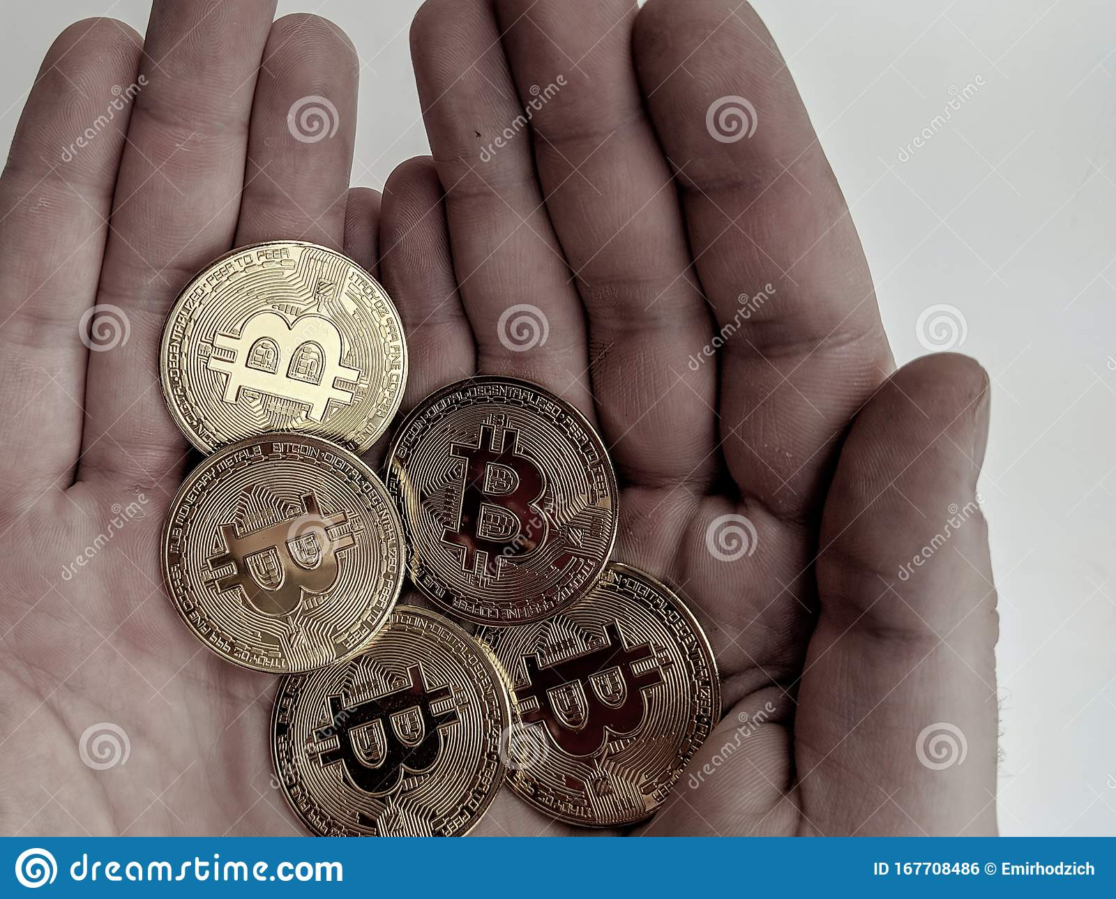 Man Golding Bitcoins In Hand As A Sign Of Digital Gold ...