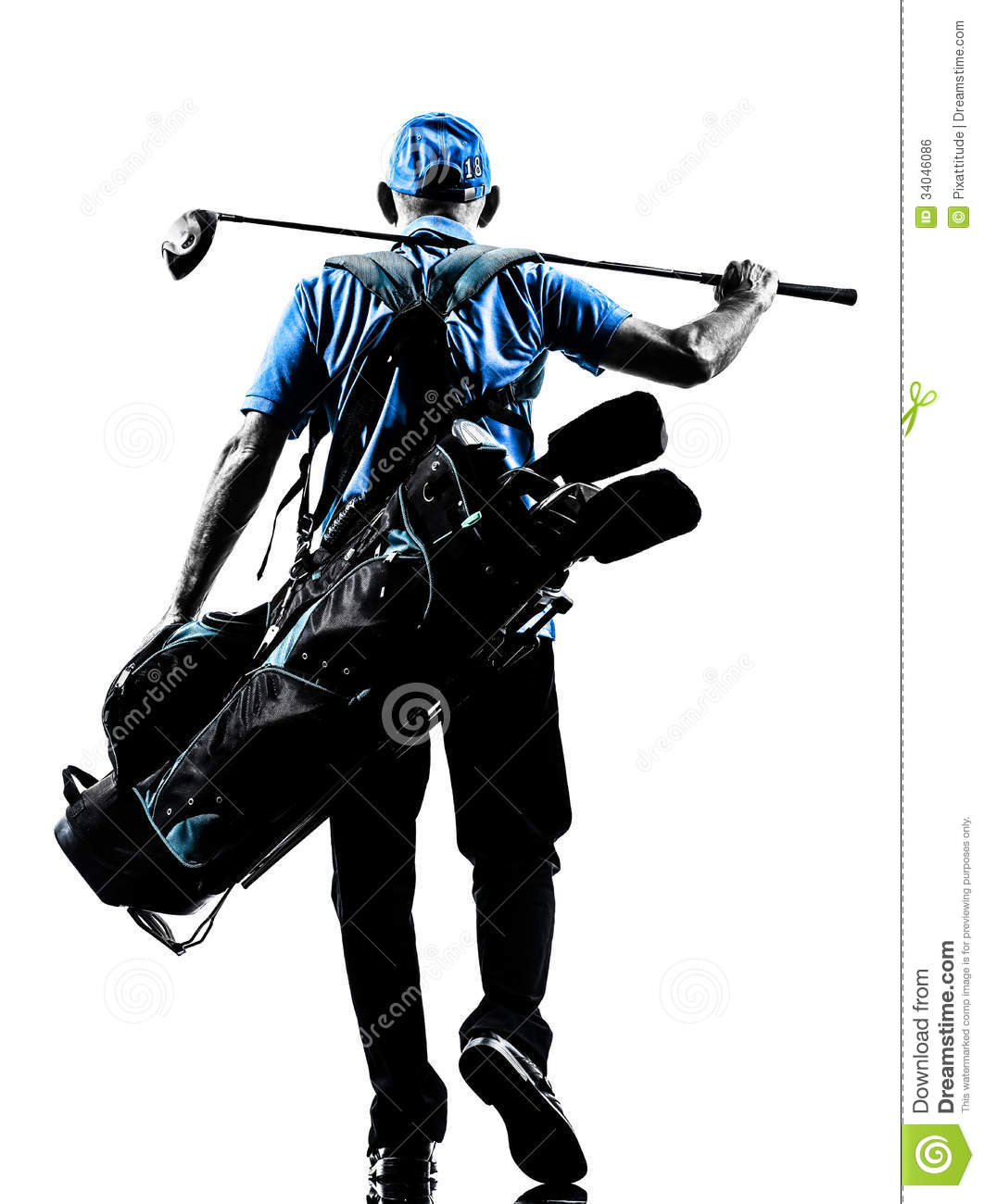 One man golfer golfing golf bag walking in silhouette studio isolated ...