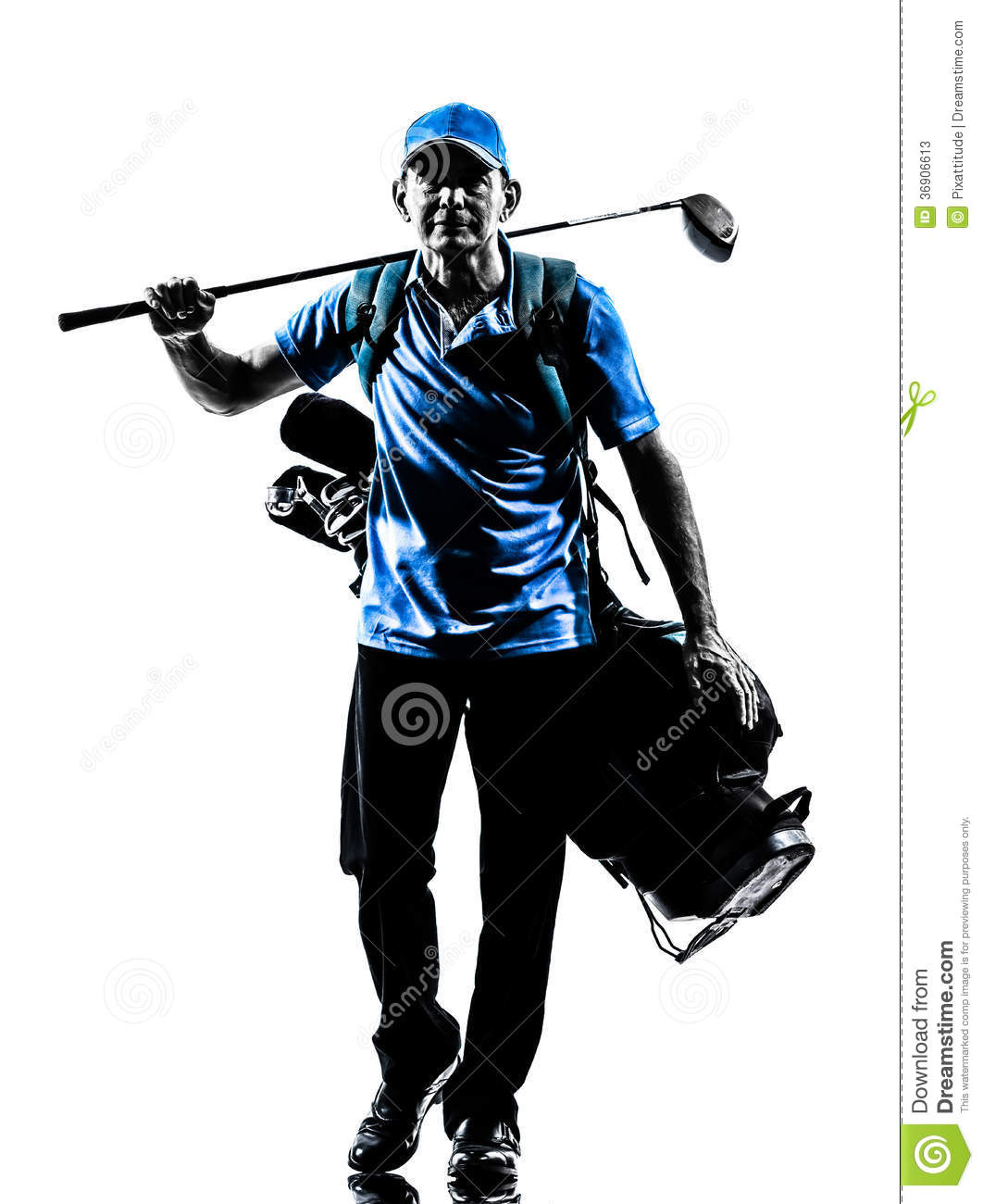 Man golfer golfing golf bag walking silhouette