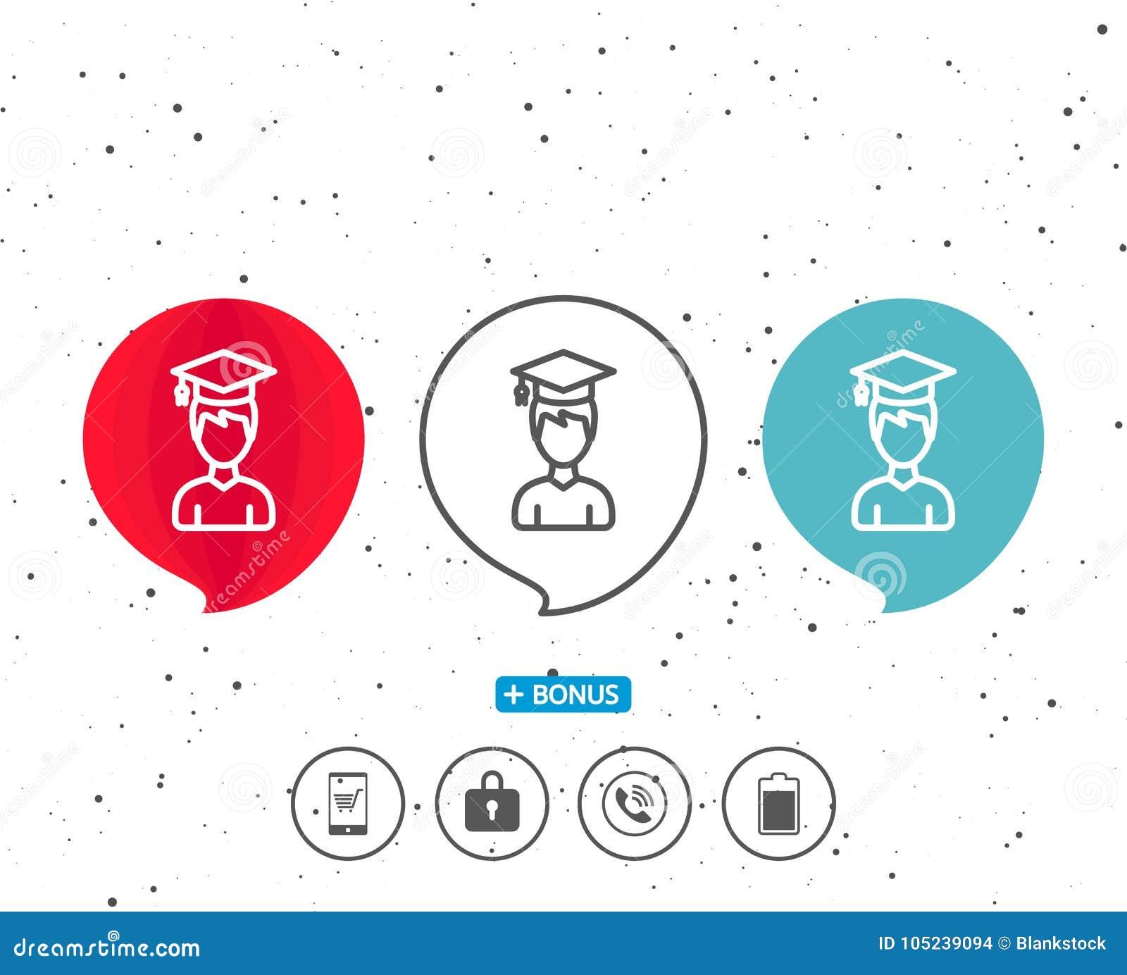 Man in Graduation cap line icon. Education.