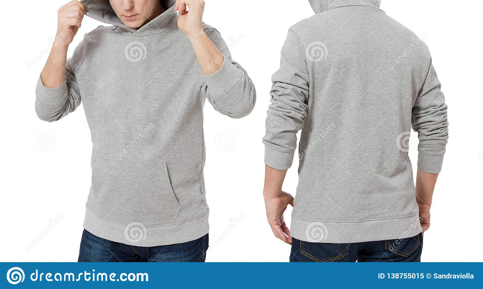 Man in gray sweatshirt template isolated. Male sweatshirts set with mockup and copy space. Hoody design. Hoodie front and back
