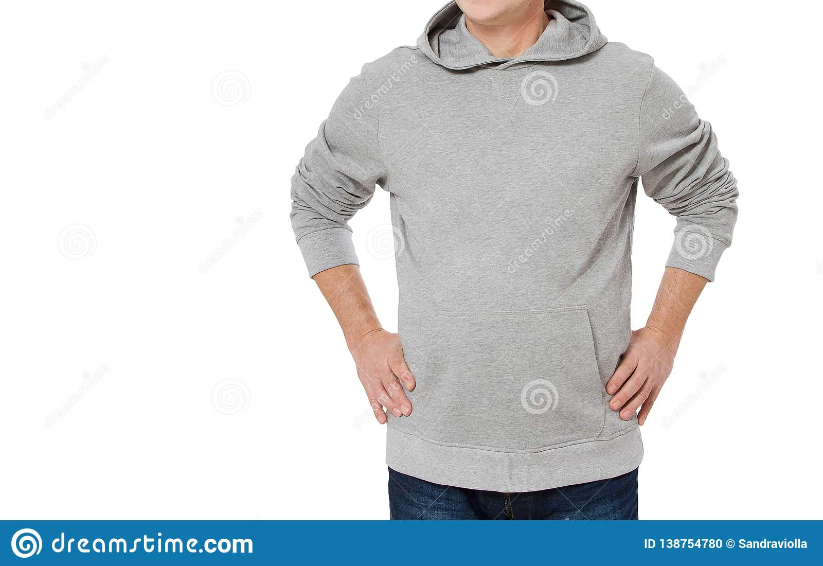 Man in gray sweatshirt template isolated. Male sweatshirts set with mockup and copy space. Hoody design. Hoodie front cropped