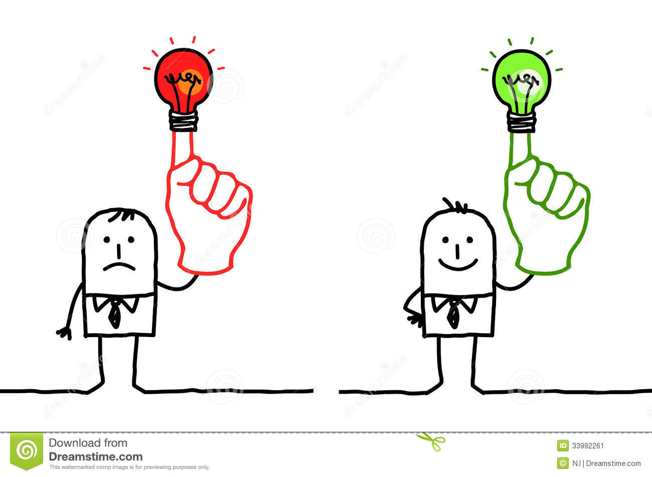 Cartoon Characters 3 Fingers : Man with green or red light on finger stock vector image