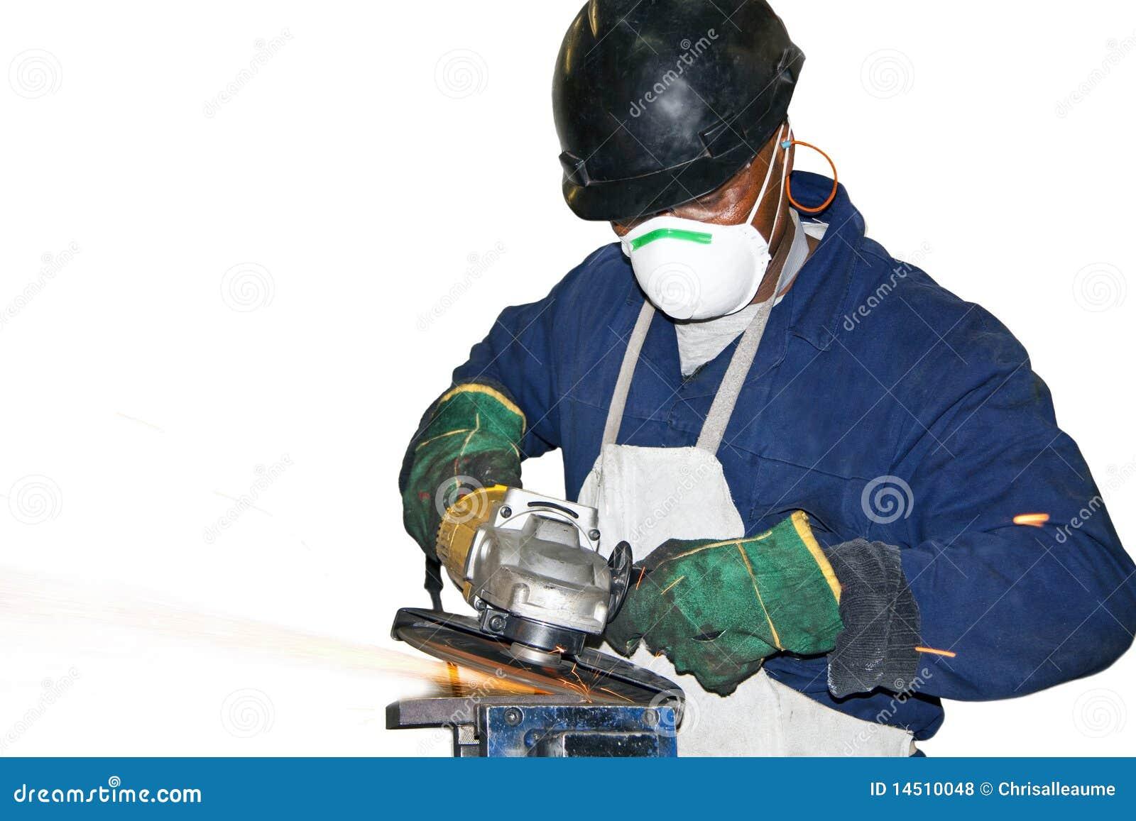 Man Grinding metal against white BG