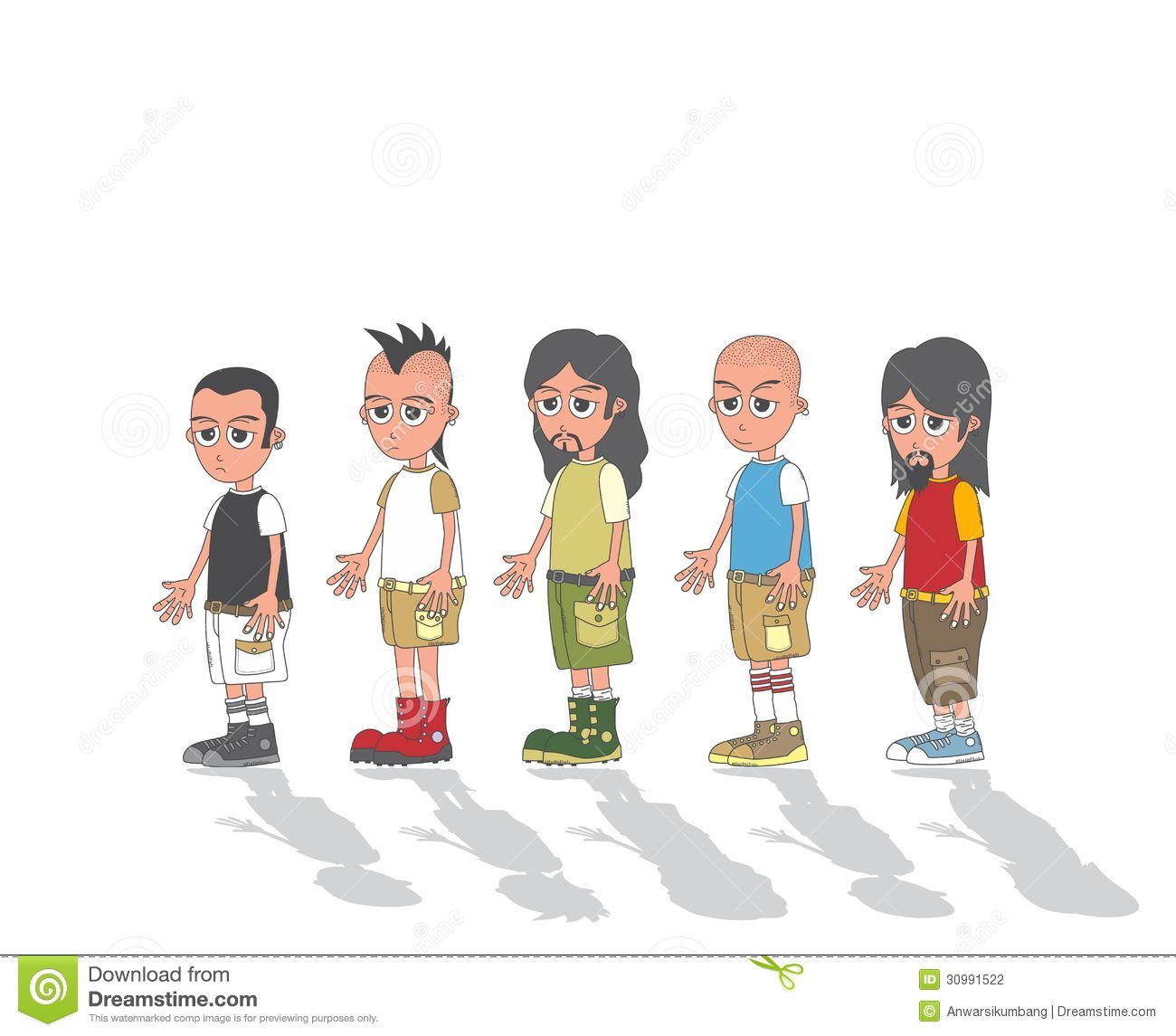 Illustrator Character Design Freelance : Man in group cartoon character stock vector image