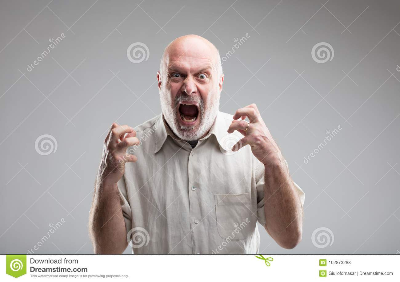 Angry Old Man Getting Crazy Or A Wolf Stock Photo Image Of Angry
