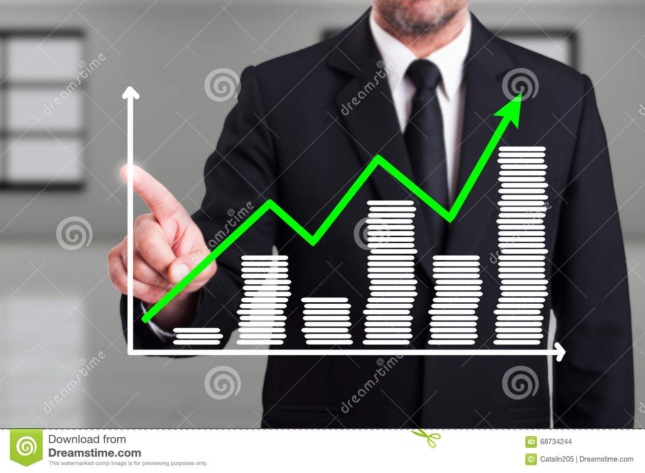 Man With Growth Chart Business Diagram On Digital Screen Stock Photo ...