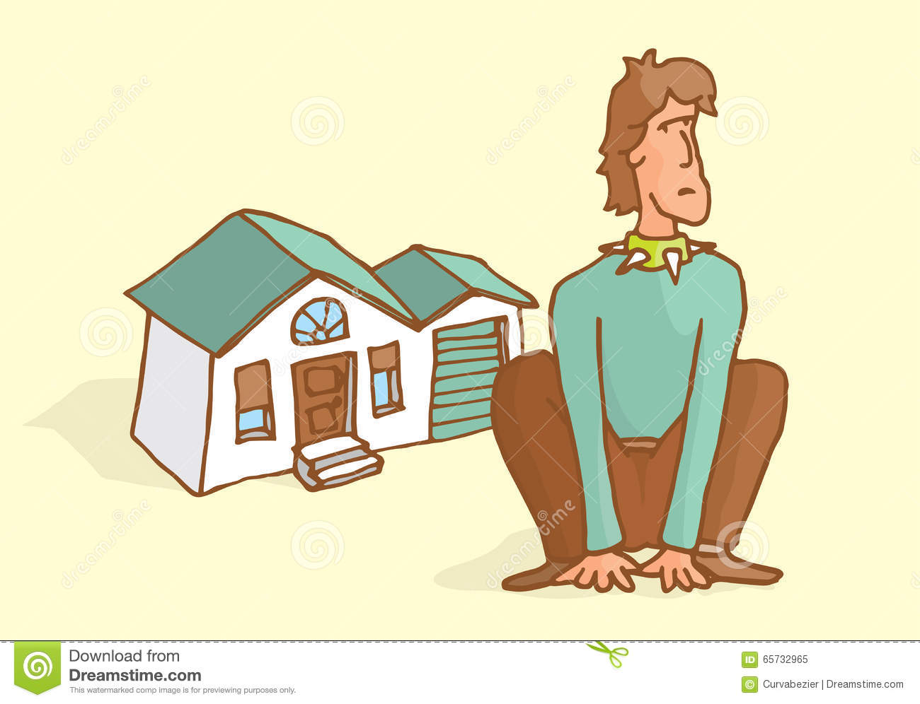 Man guarding his house sitting like a dog stock vector for House siting