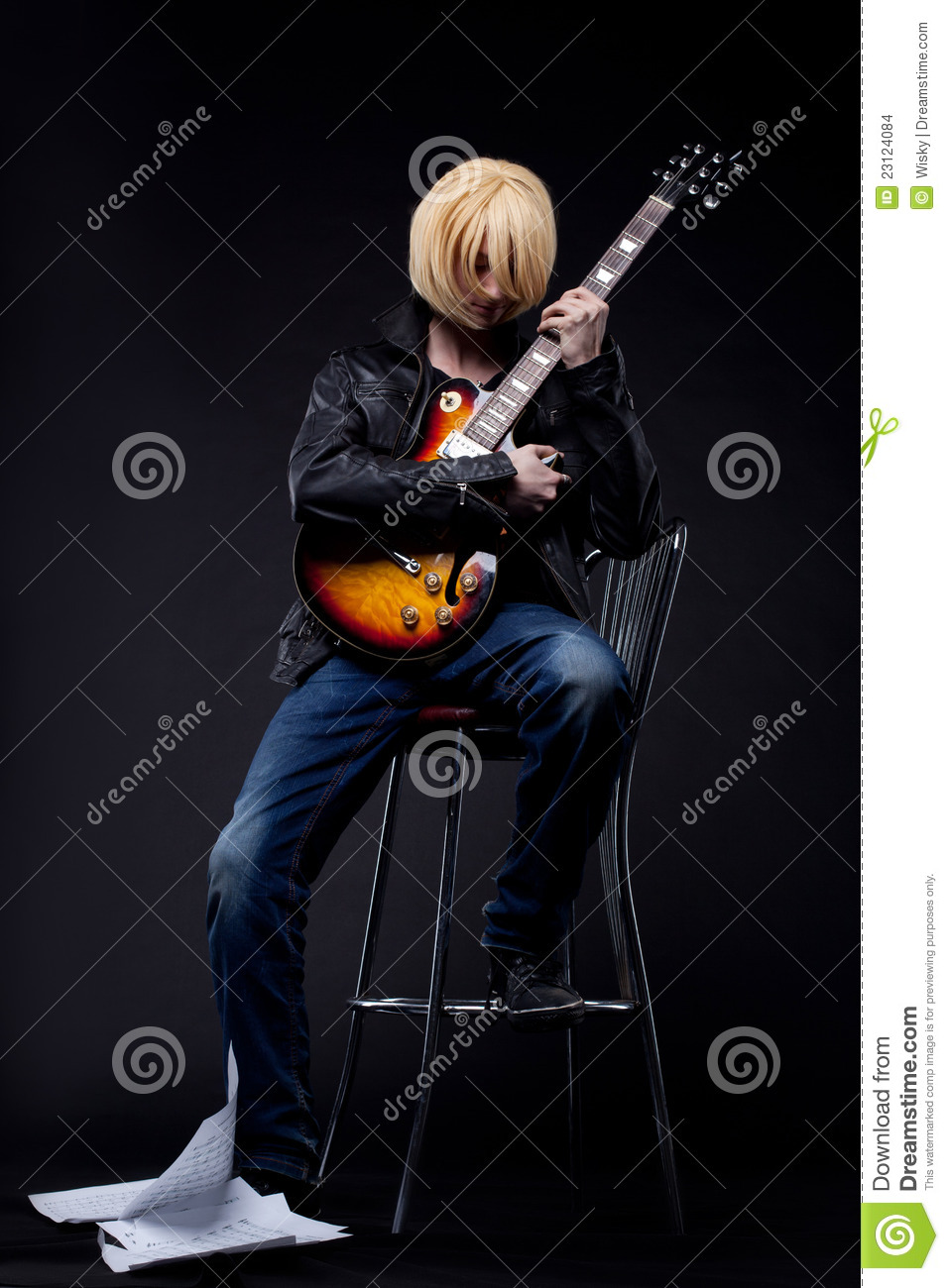 Man Guitar Player Cosplay Anime Character Stock Images