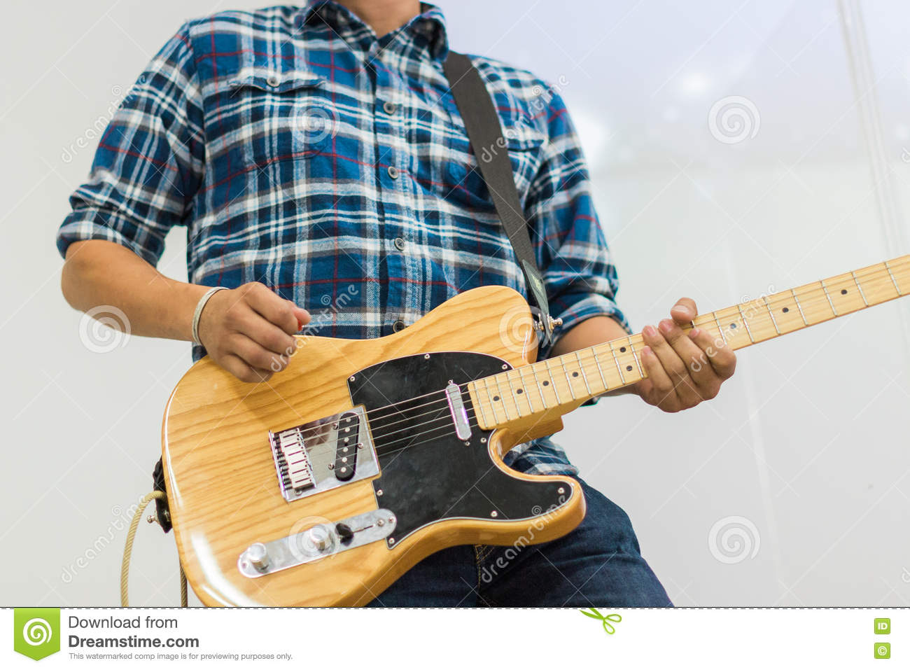 man guitar player on electric guitar telecaster stock photo image of acoustic musical 79729124. Black Bedroom Furniture Sets. Home Design Ideas