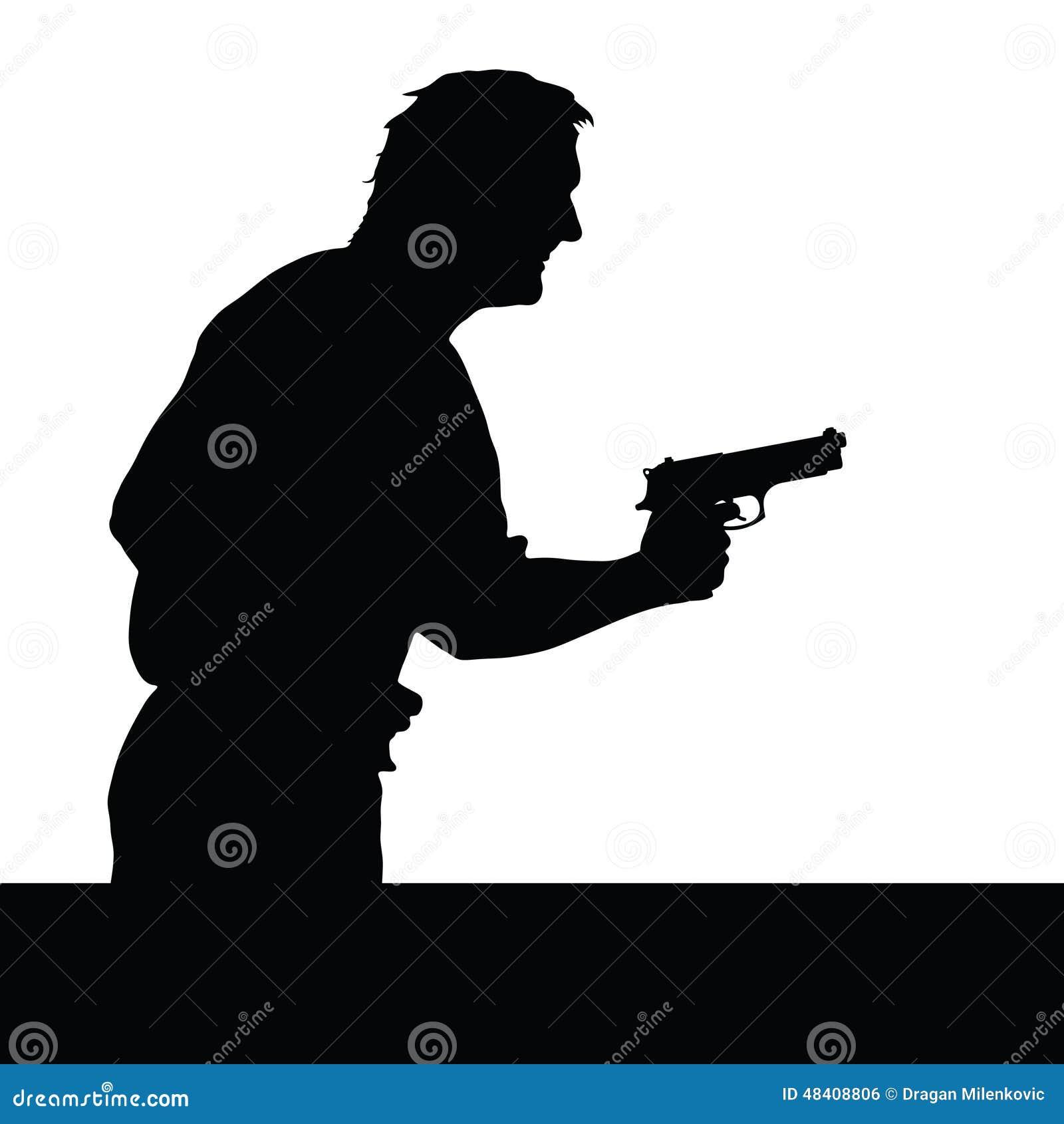 Silhouette Man Spy Holding Gun Stock Photo