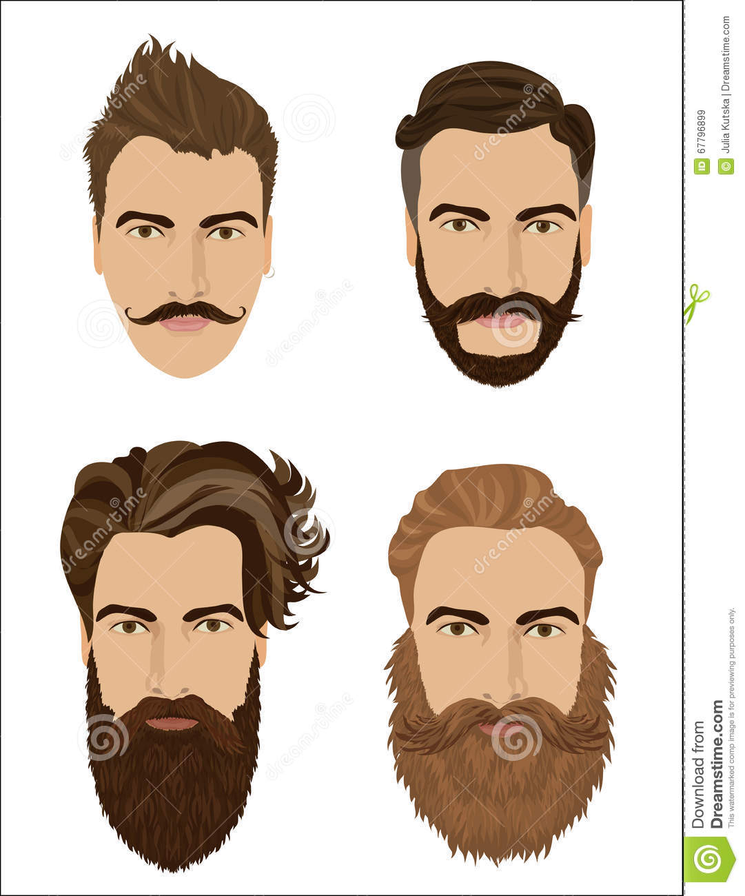 Man Hair And Beards Styles. Hipster Fashion High Detailed