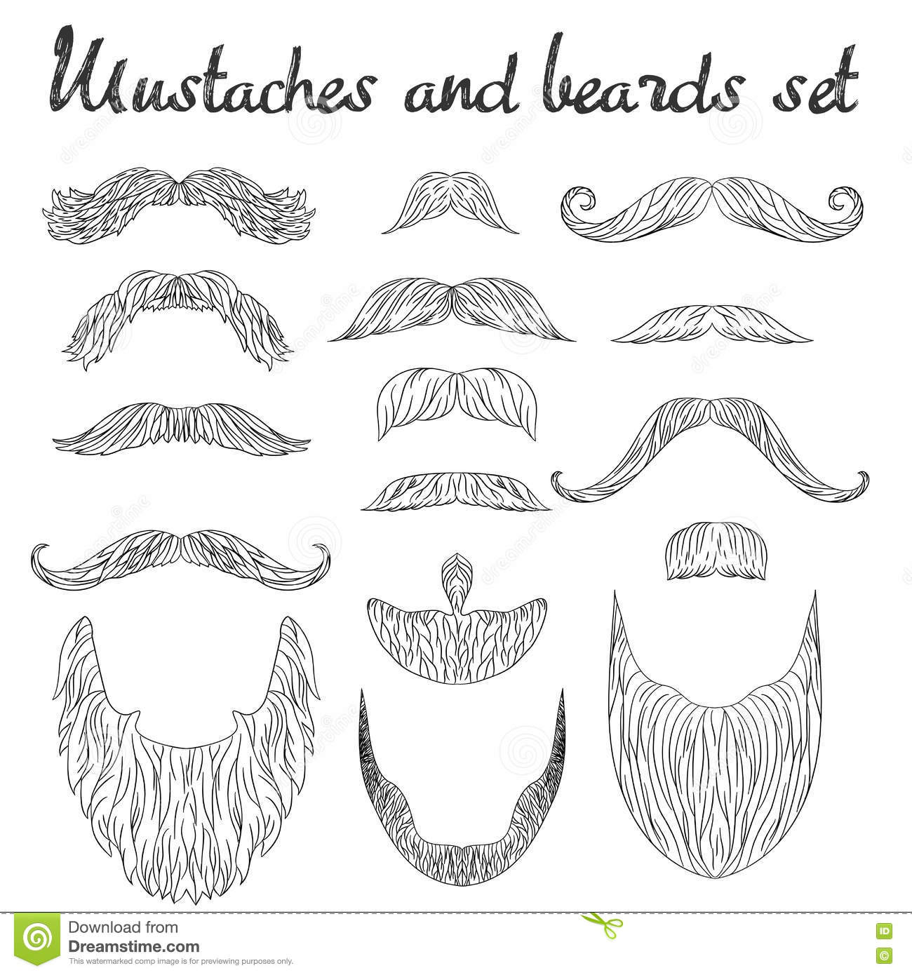Line Drawing Styles : Hand drawn mustache beard and hair style set hipster