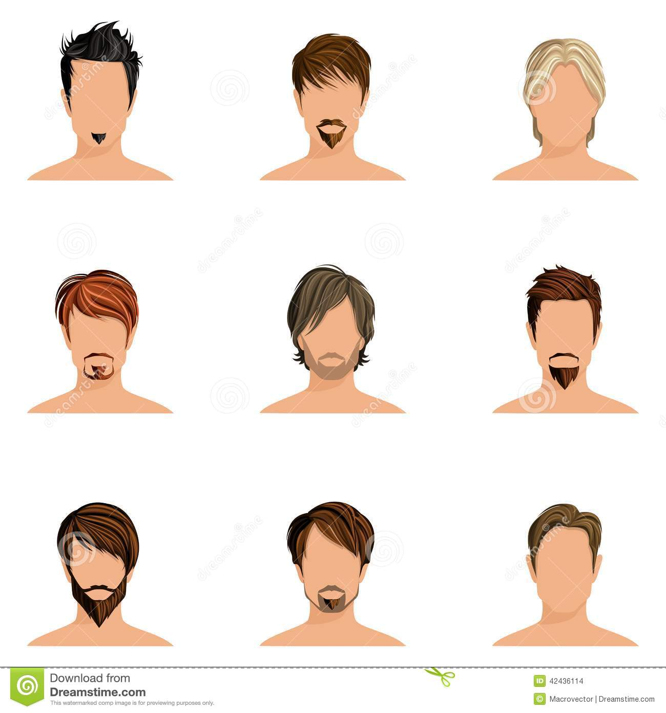 Man Hair Style Set Stock Vector Illustration Of Character