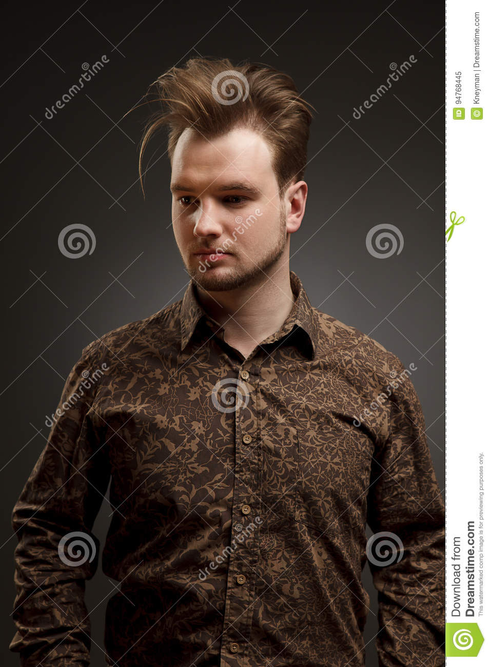 Man Haircut Stylish Young Man With Trendy Hairstyle Pose In Studio