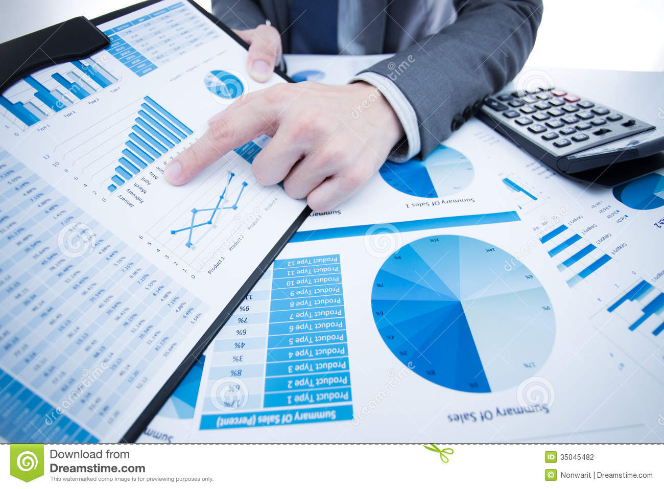 man hand with business report stock photo image of finances