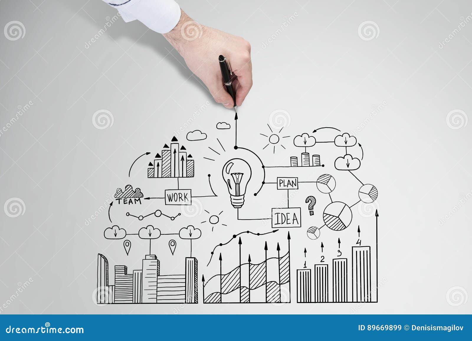 Man Hand Drawing Business Diagram Stock Illustration - Illustration ...