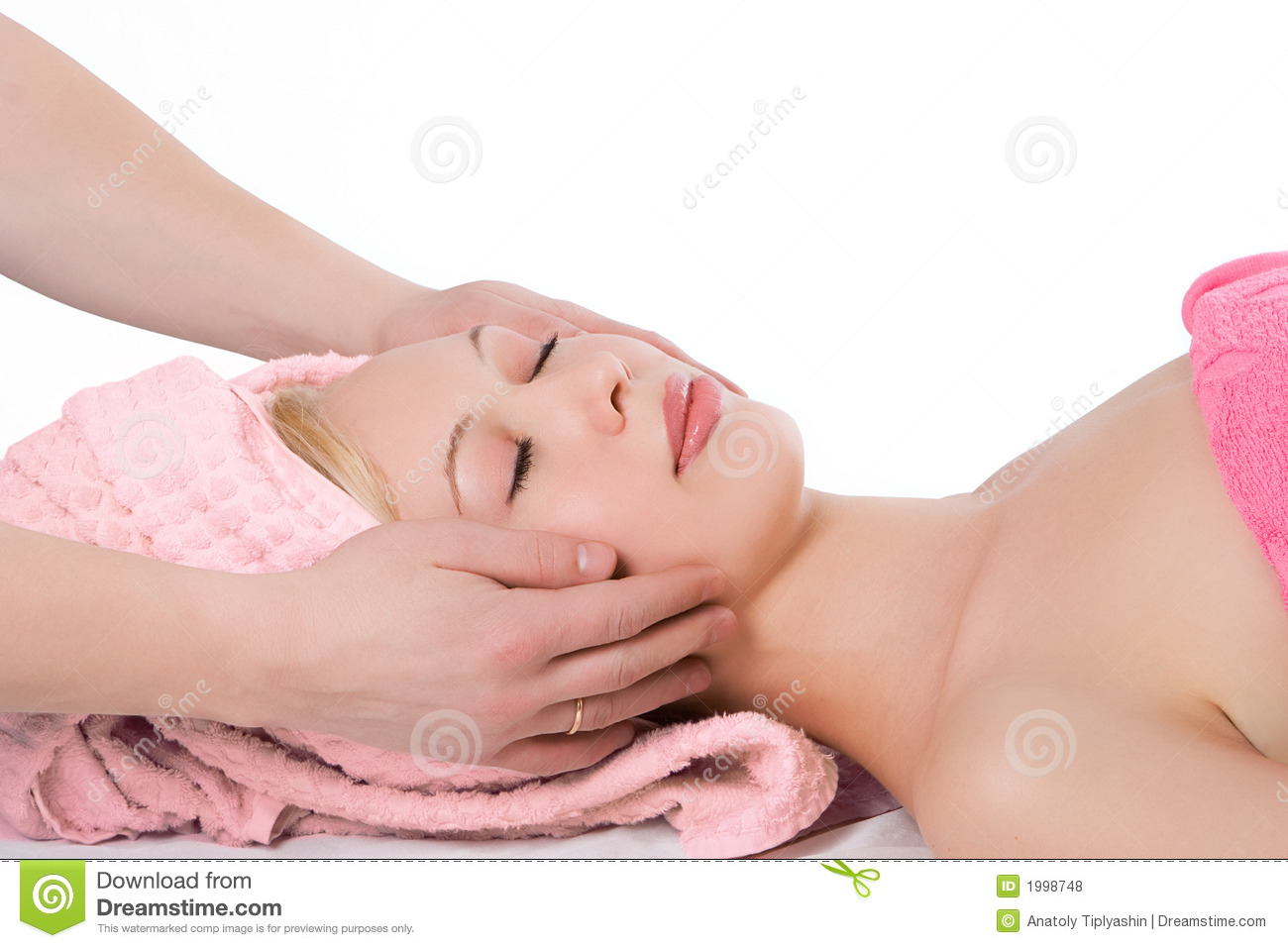 Royalty Free Stock Photos: Man hand facial massage to blonde girl