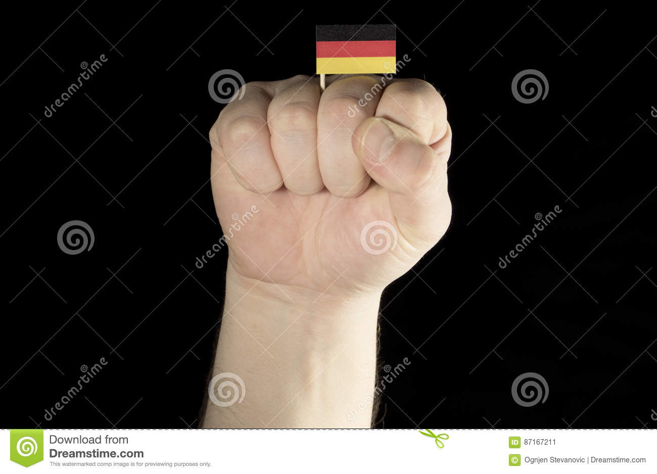 Flag Of The Germany On Fist Vector Illustration