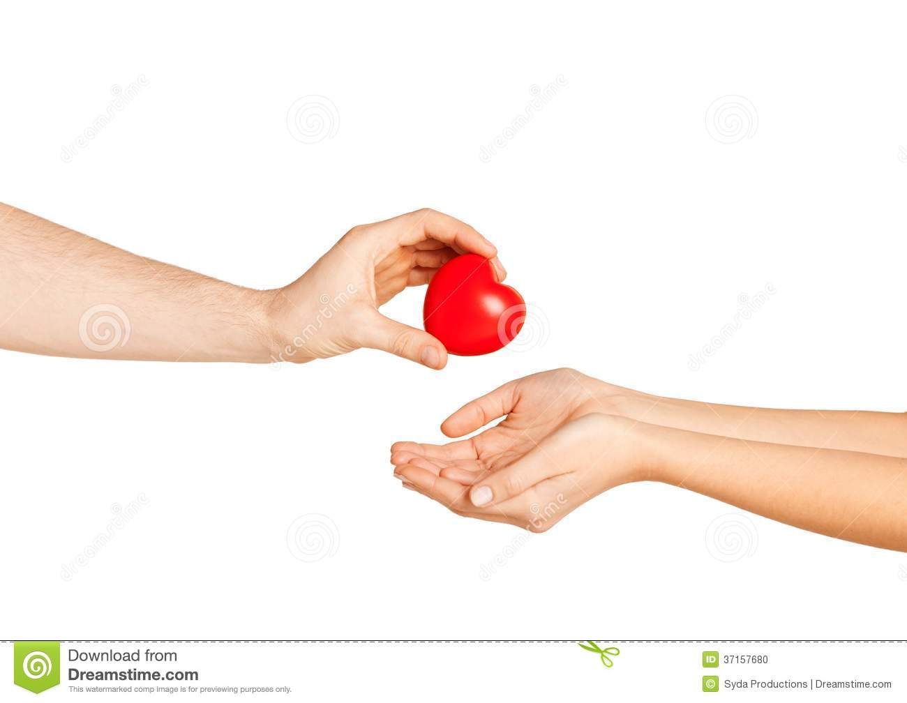 Man Hand Giving Red Heart To Woman Stock Photo - Image of