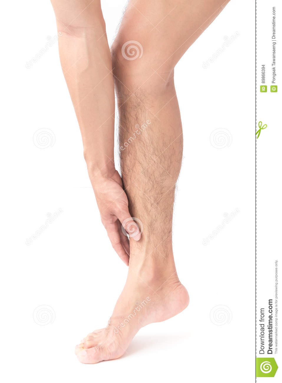 Man Hand Holding Ankle Leg Pain With White Background Stock Photo ...