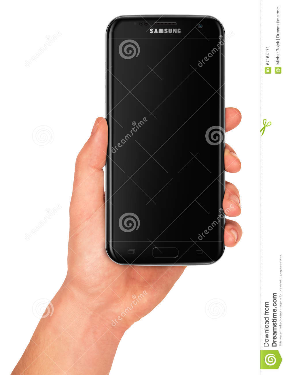 Man hand holding the back Samsung Galaxy s7