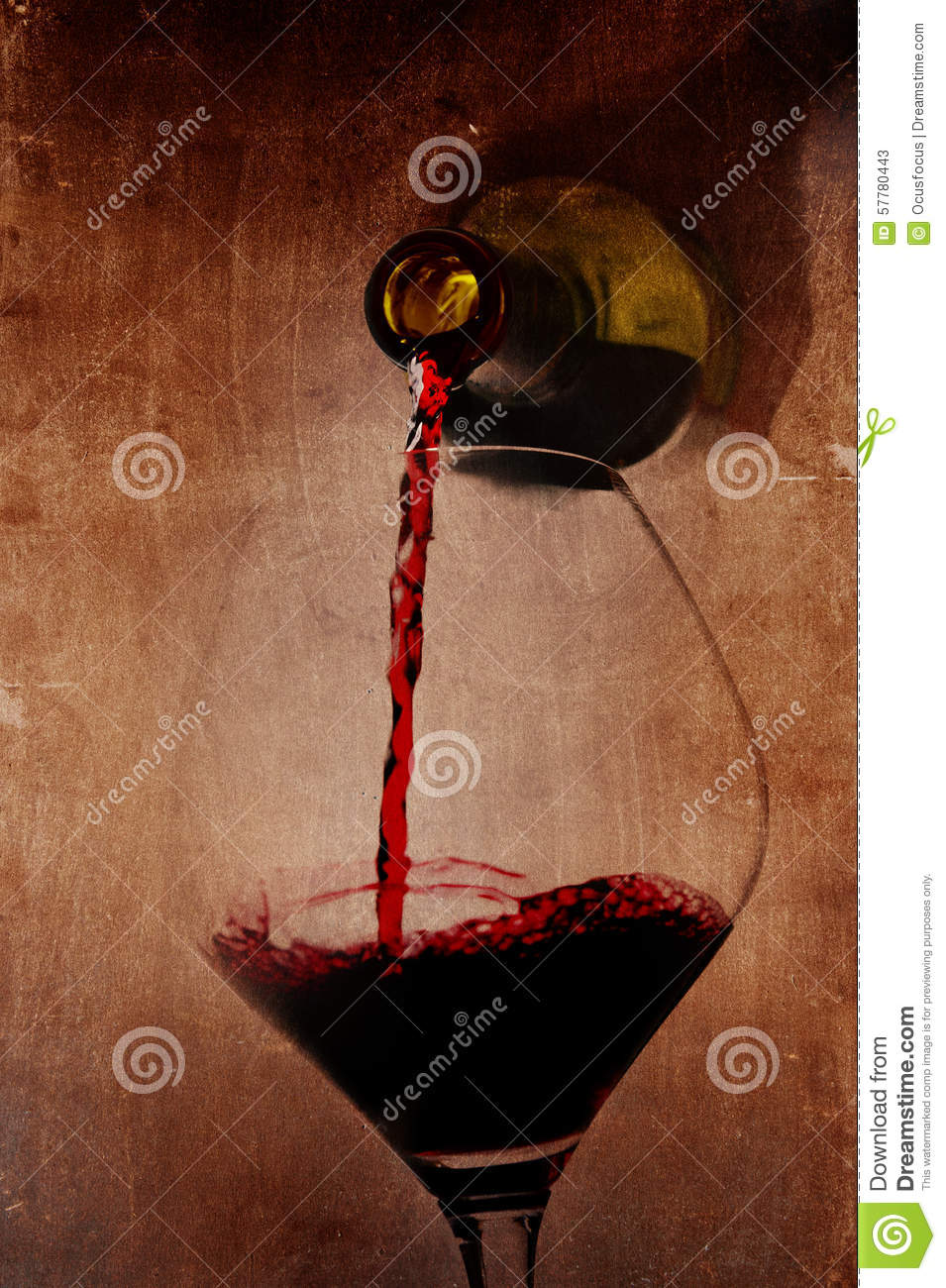 Man Hand Holding Bottle Pouring Red Wine Filling Glass On ...