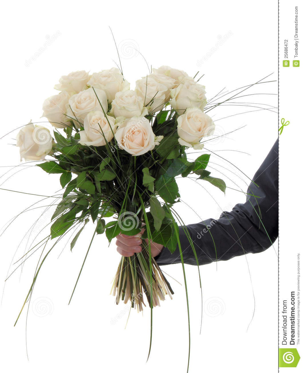 Man Hand Holding Bunch Of White Roses Stock Photo - Image ...