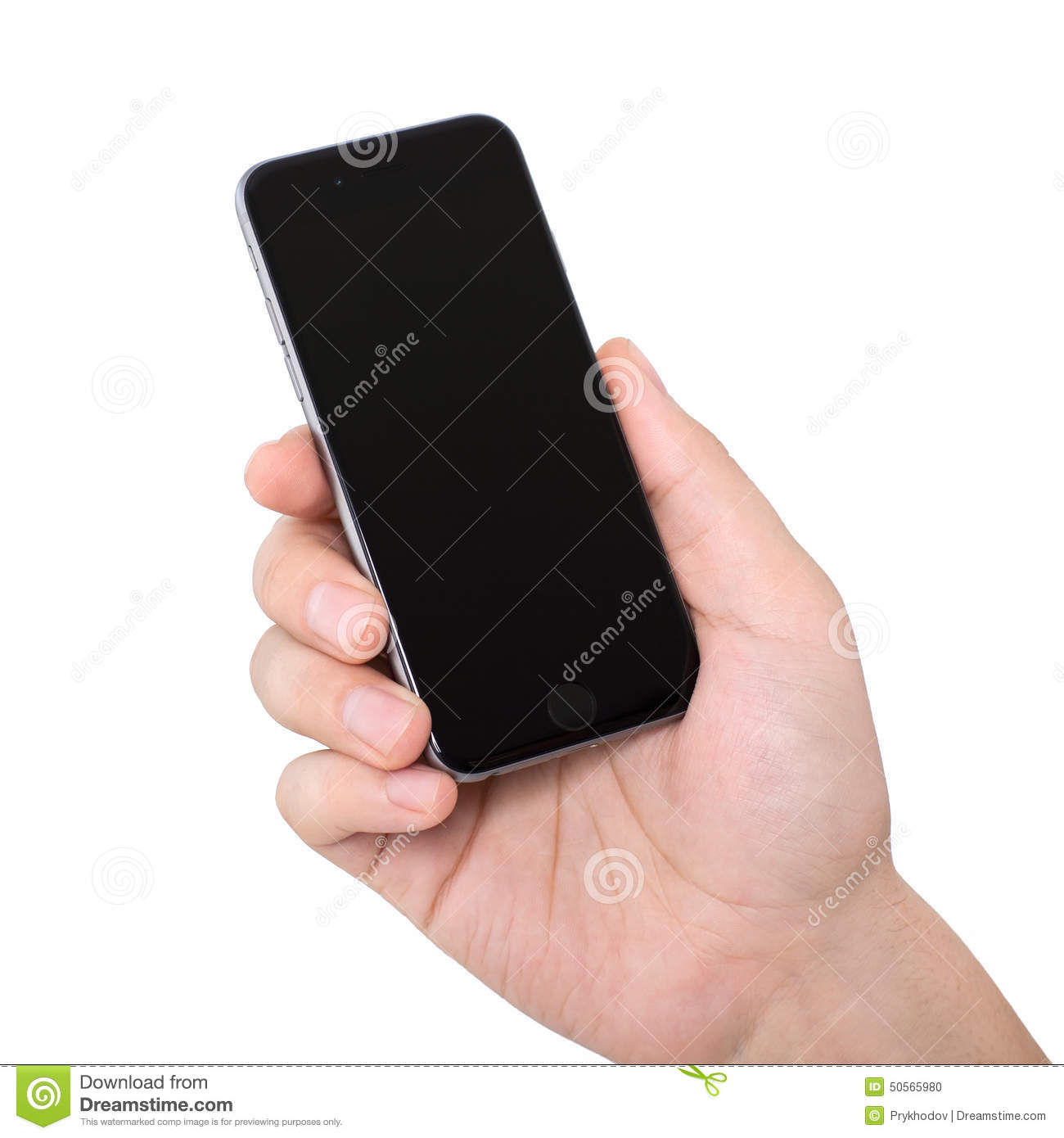 Man Hand Holding Isolated New Phone IPhone 6 Space Gray ...