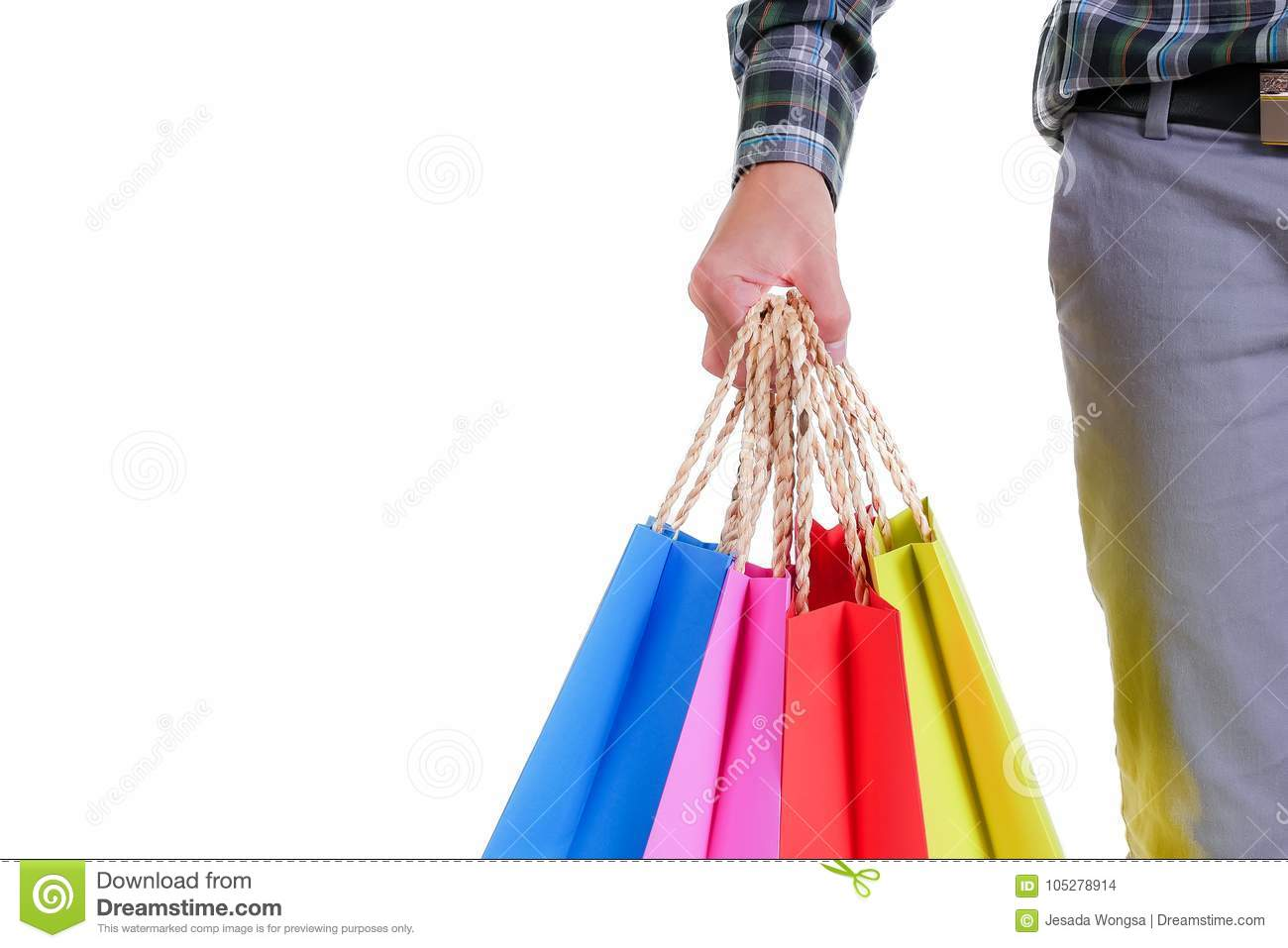 Man hand holding shopping bags isolated on white background
