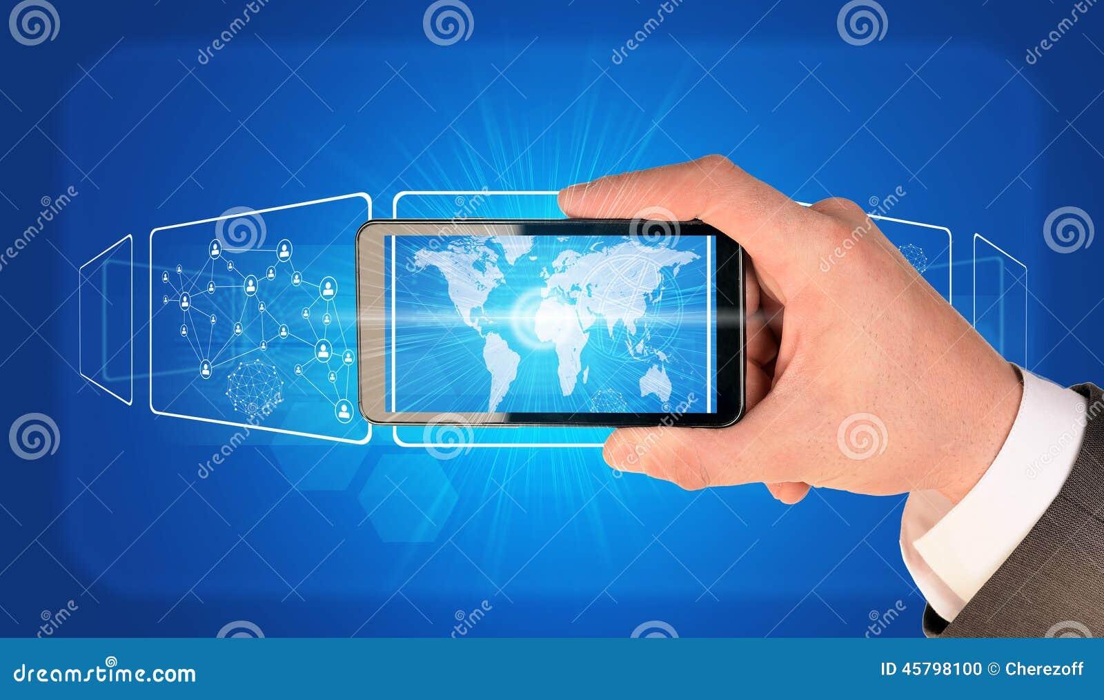 Man hand holding smart phone image of world map stock illustration man hand holding smart phone image of world map royalty free illustration publicscrutiny Choice Image