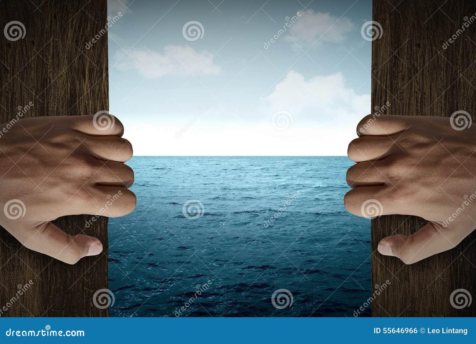 Man Hand Open Door Into The Sea Stock Photo Image Of