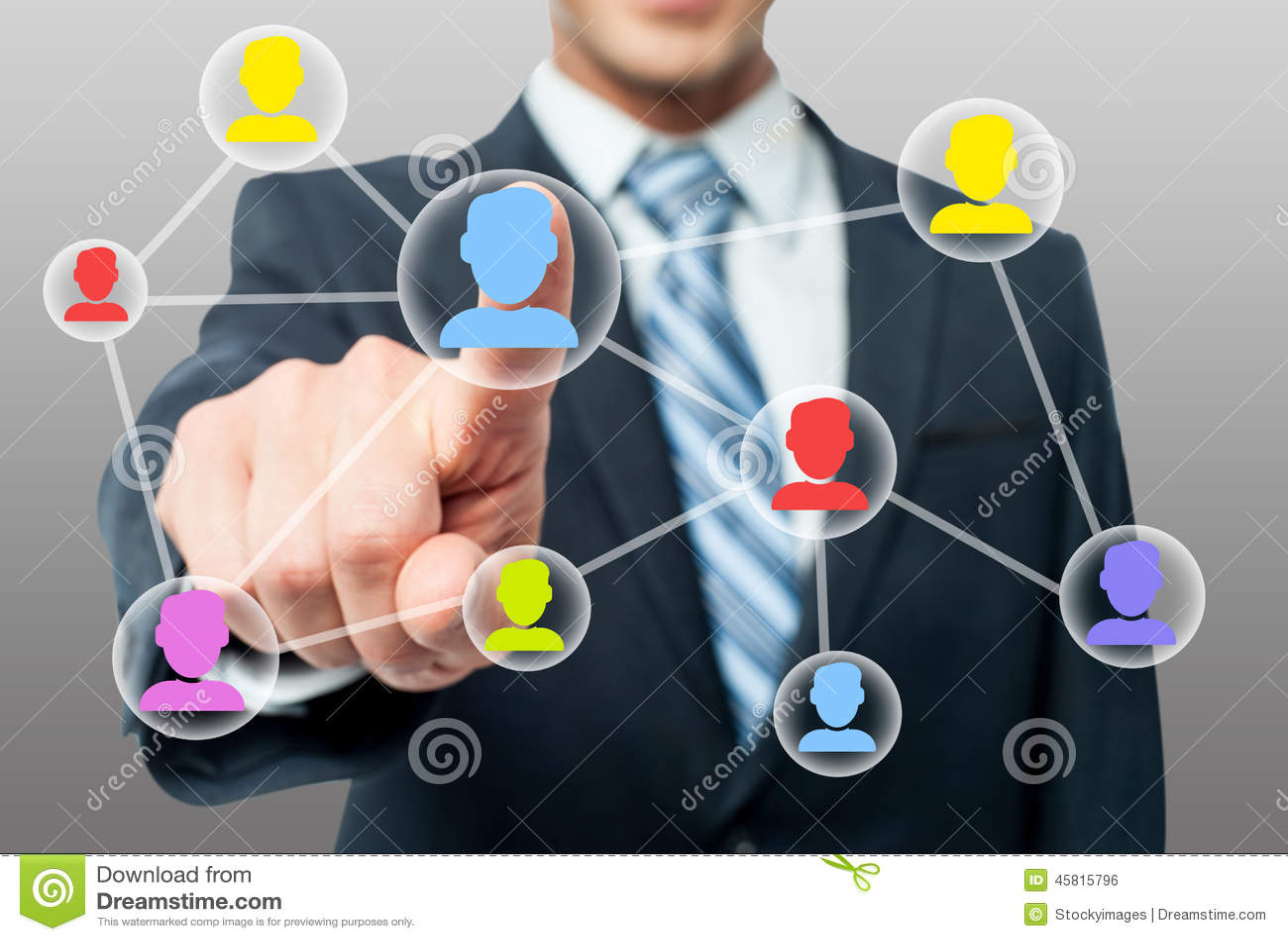 Man hand pressing contact on virtual screen