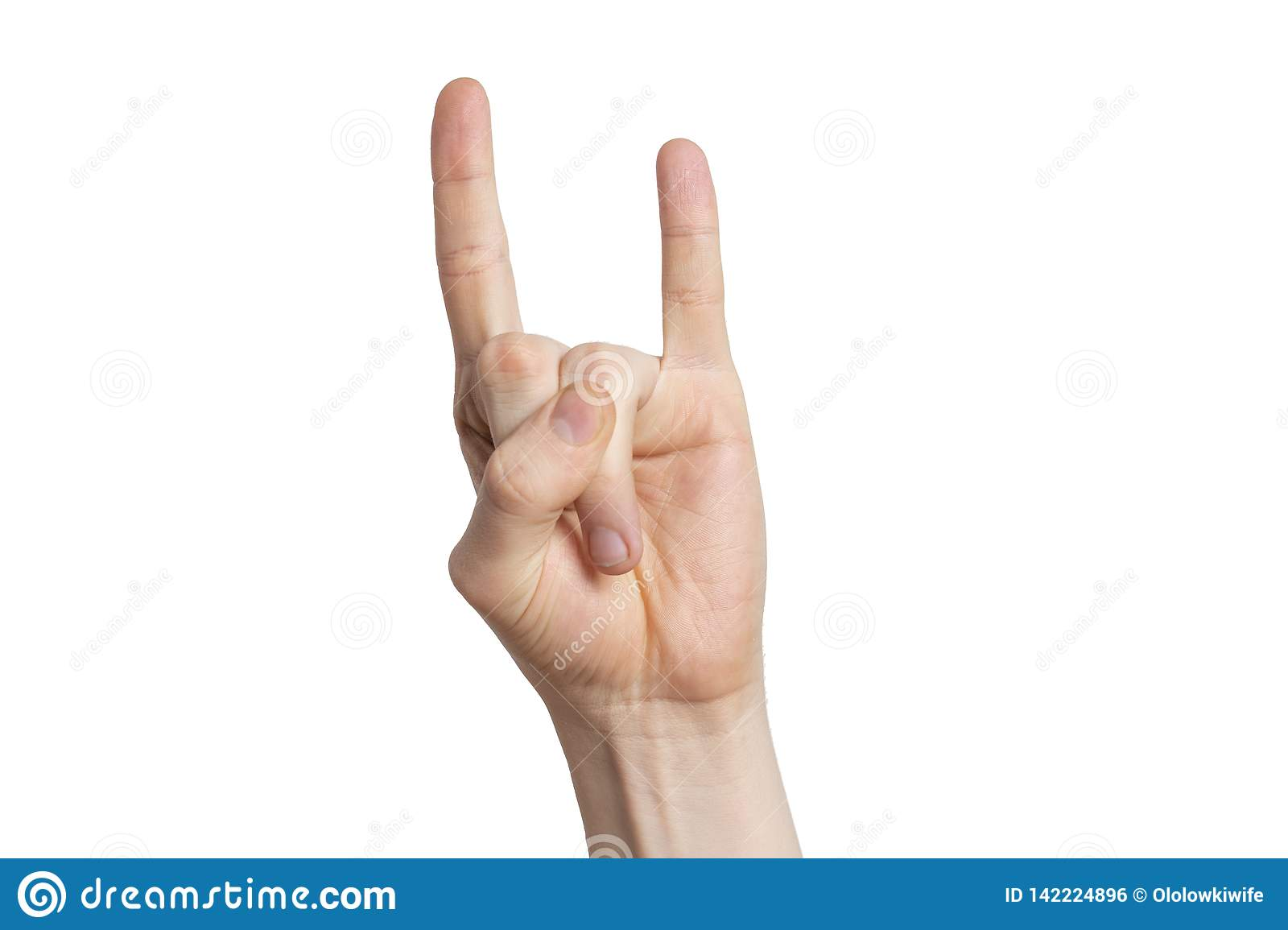 Man hand show rock sign, goat gesture isolated on white background