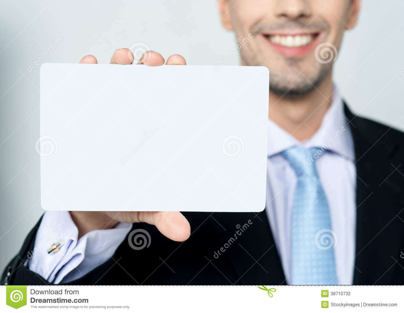 Man hand showing business card